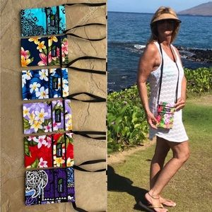 Hawaiian Print Canvas Zippered Crossbody